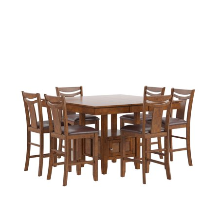 Weston Home Broome 7-Piece Counter Height Expandable Storage Dining Table Set - Dark Brown ()