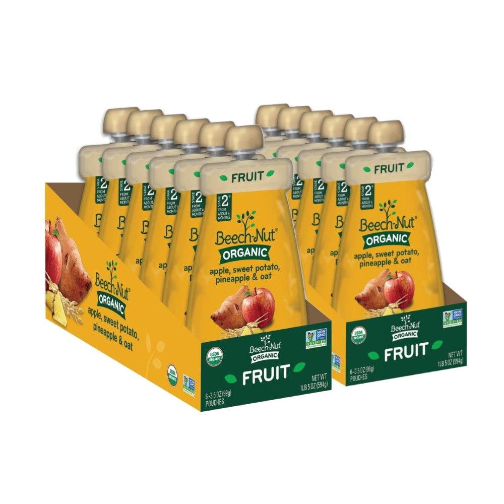 Beech-Nut Organic Stage 2 Apple, Sweet Potato, Pineapple & Oat Baby Food, 2 - 6 pk Sleeves (Pack of 12)