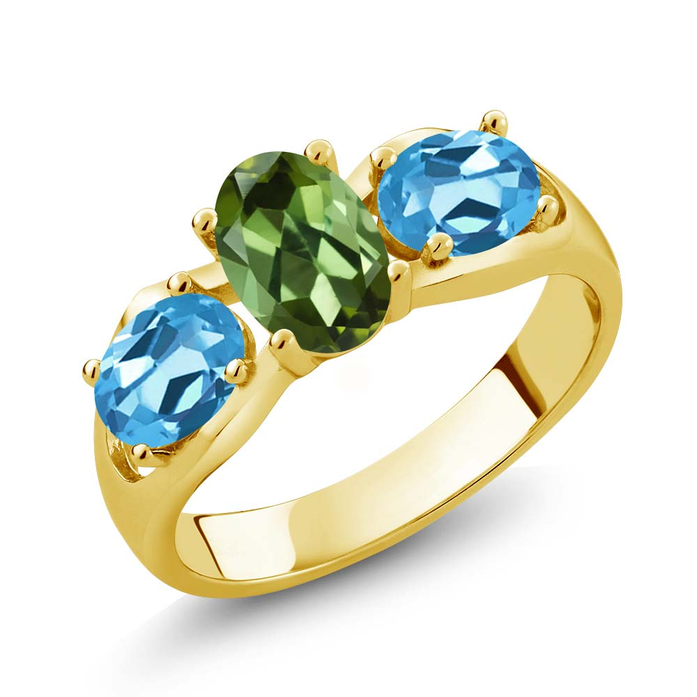 1.70 Ct Oval Green Tourmaline Swiss Blue Topaz 18K Yellow Gold Ring by