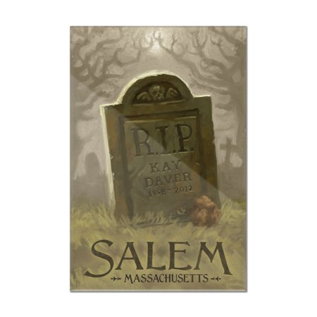 Salem, Massachusetts - Headstone - Halloween Oil Painting - Lantern Press Artwork (8x12 Acrylic Wall Art Gallery Quality)