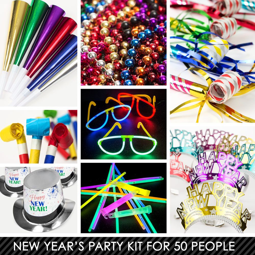 Multi-Color New Years Kit (For 50 Guests) - New Year Eve ...