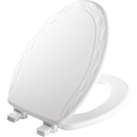 Mayfair Easy•Clean Elongated Enameled Wood Ivy Design Toilet Seat in White ()