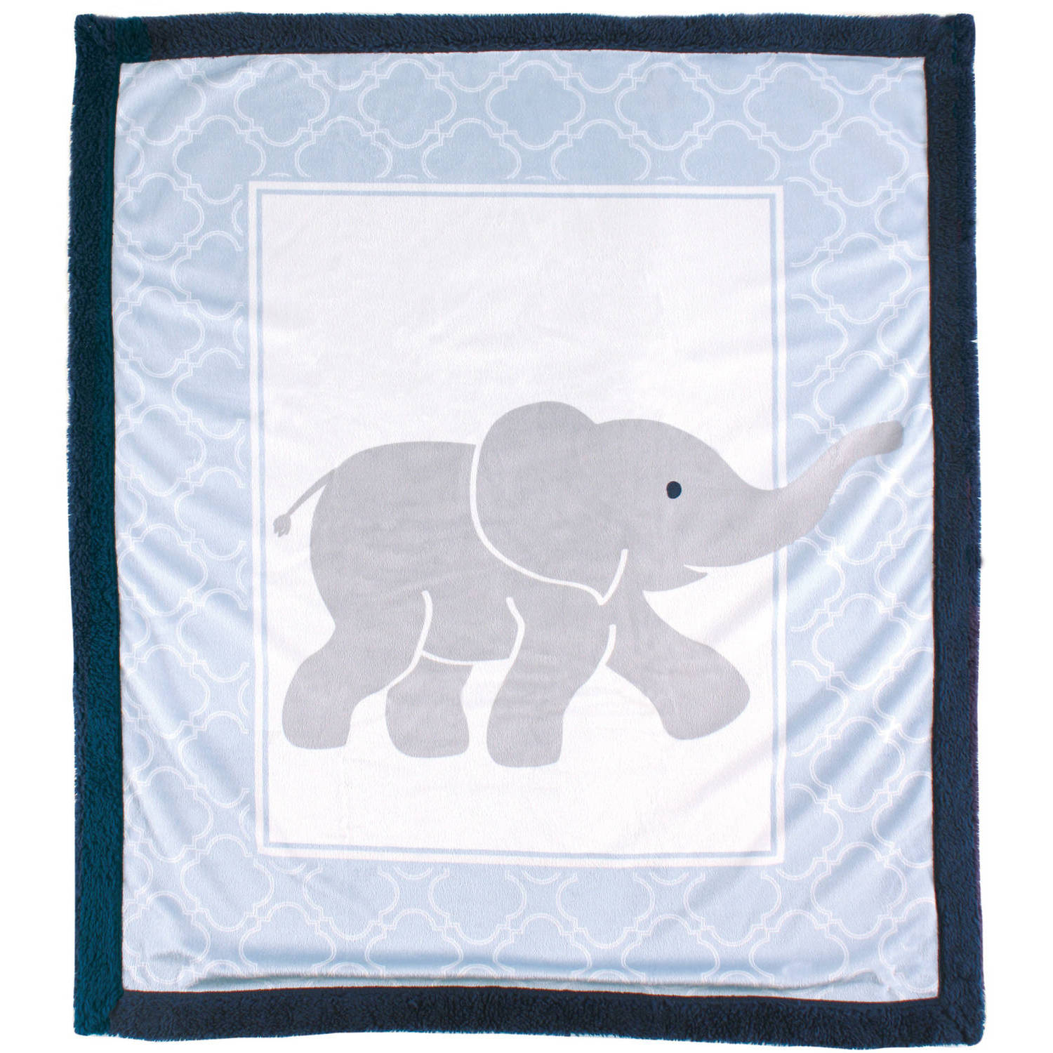 Luvable Friends Print Blanket with Sherpa Backing, Elephant
