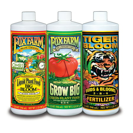 FOXFARM FX14049 Hydro Nutrient Trio Tiger Bloom Grow 3 Qts Liquid Plant