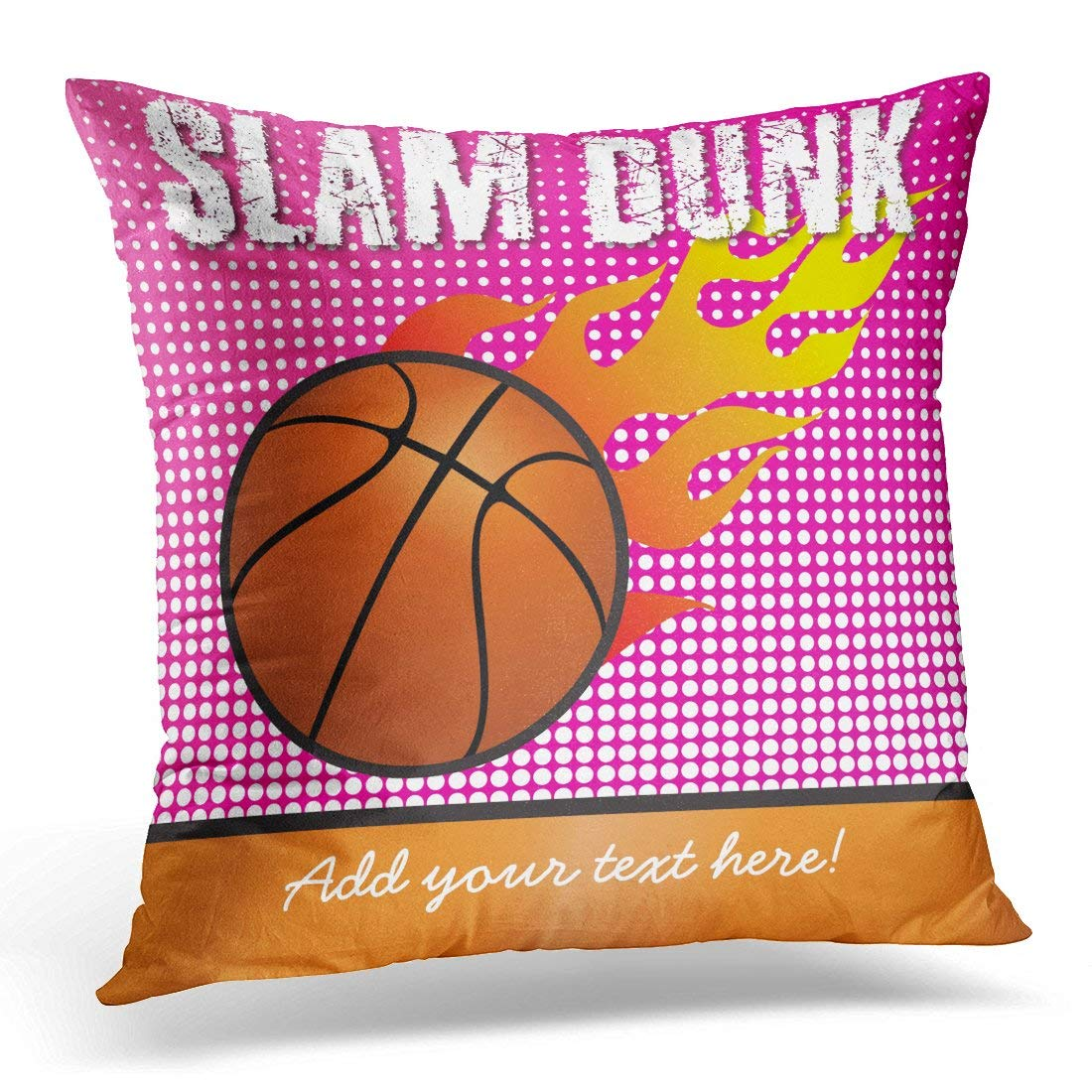 WOPOP Basketball Slam Dunk Pink Kids Sports Childs Pillowcase Cushion Cover 16x16 inches