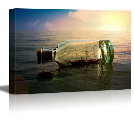 wall26 - Canvas Prints Wall Art - Ship in a Drifting Bottle at Sea Retro Style | Modern Wall Decor/Home Decoration Stretched Gallery Canvas Wrap Giclee Print. Ready to Hang - 24