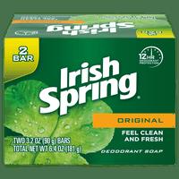 Irish Spring Original, Deodorant Bar Soap, 3.2 Ounce, 2 Bar Pack