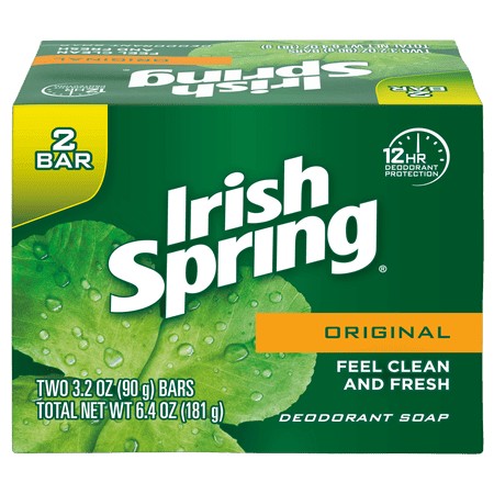 Irish Spring Original, Deodorant Bar Soap, 3.2 Ounce, 2 Bar Pack