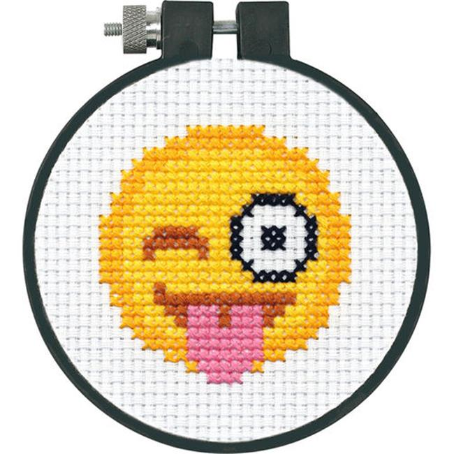 3 in. Tongue Out Emoji - Counted Cross Stitch Craft, 11 Count