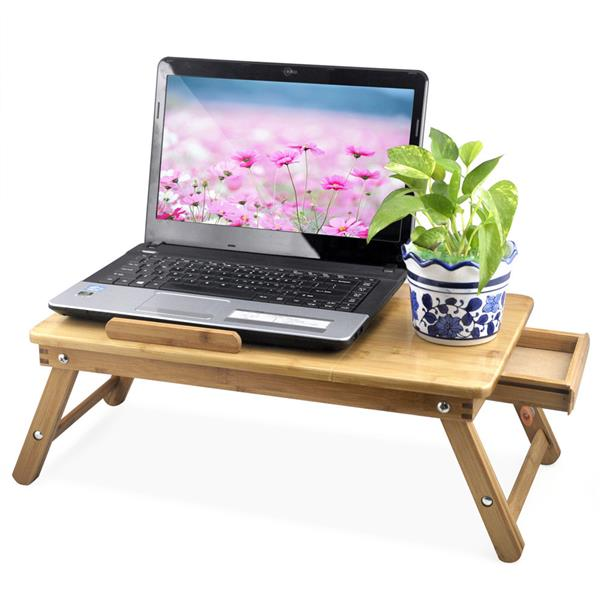 Yaheetech Flower Bamboo Portable Folding Laptop Notebook Computer Desk Bed Table Work Laptop Tray
