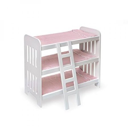 Badger Basket Triple Doll Bunk Bed with Ladder and Gingham Mats (fits American Girl dolls),