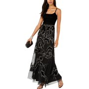 ADRIANNA PAPELL Womens Black Embellished  Gown Velvet Spaghetti Strap Scoop Neck Maxi Evening Dress Petites  Size: 4