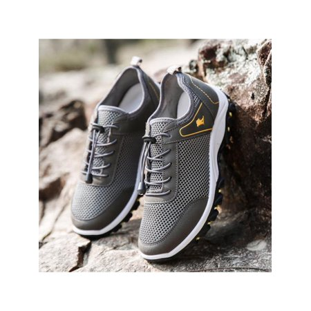 Men Outdoor Sneakers Breathable Hiking Shoes Mesh Walking Sport Trainers