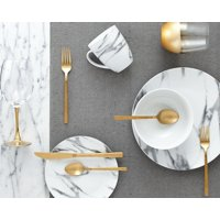 Deals on Safdie & Co. 16-Piece Coupe Dinnerware Set, White, Marble