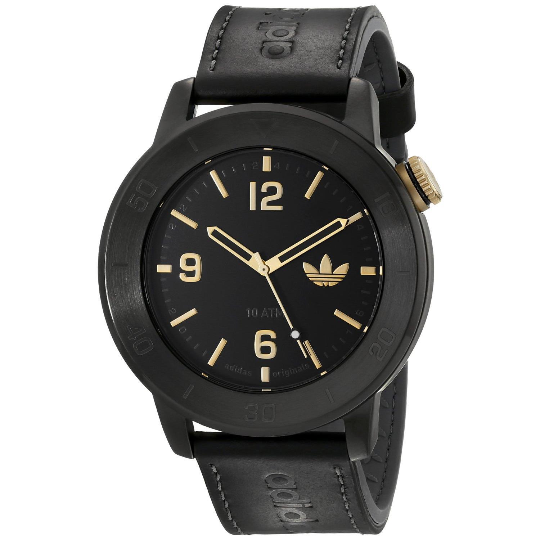 Adidas adh3009 46mm Stainless Steel Case Black Calfskin Mineral Men's Watch by Adidas