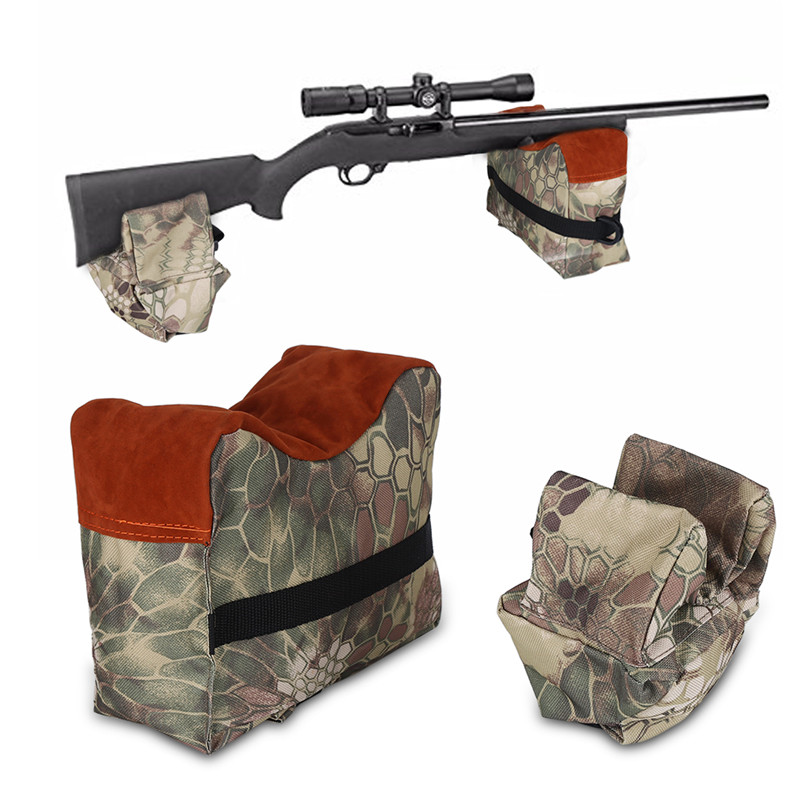 Front and Rear Shooting Rifle Shotgun Support Bench Shooters Gun Rest Bags Brown Camouflage