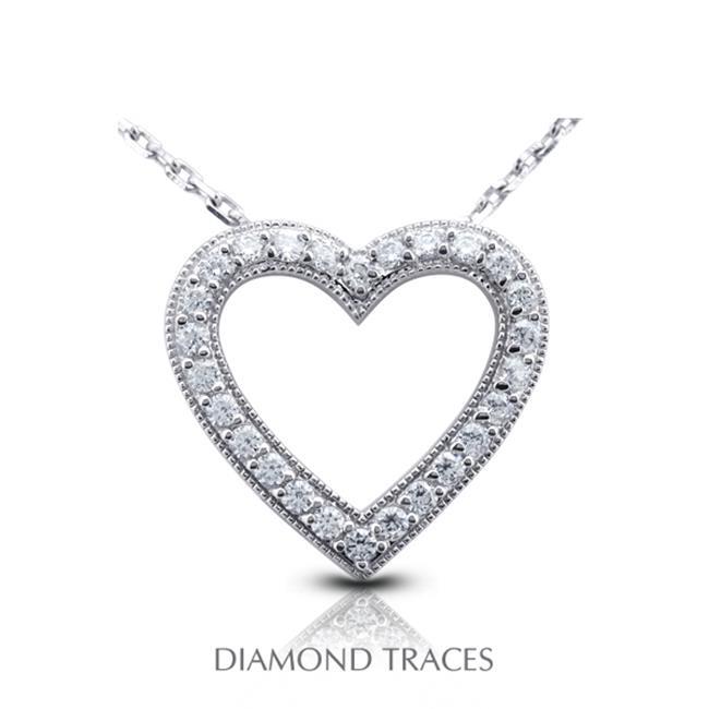 Diamond Traces 0.95 Carat Total Natural Diamonds 14K White Gold Prong Setting Heart Shape With Milgrain Fashion Pendant