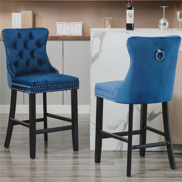 Wood Barstools Counter Stools Set Of 2, 24 Inch High Dining Chairs