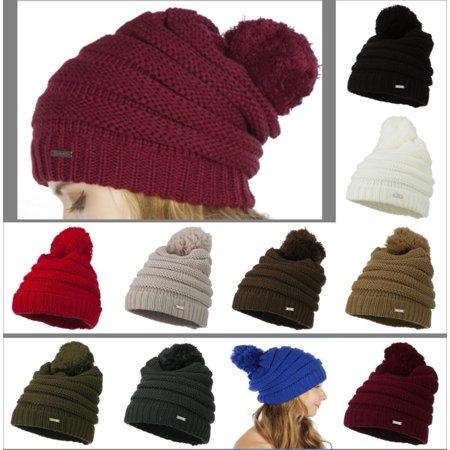 ee9fdc95d5b CC Exclusives - CC Beanie Women Men Acrylic Thick Cap Hat Pom Pom Cable Knit  Slouchy Oversized - Walmart.com