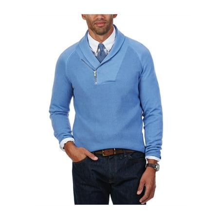 Nautica Mens Asymmetrical Zipper Knit Sweater chromeblue M - image 1 de 1