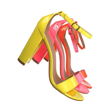 Lily1 by Glaze, 60s Retro Neon Block Heel Sandal - Women's Open Toe Evening Dance (Best Heels For Dancing)