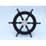Handcrafted Model Ships SW12CH-Black Deluxe Class Wood and Chrome Pirate Ship Steering Wheel 12 in. Decorative Accent