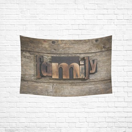 YKCG Home Decoration Family Word with Vintage Letterpress Blocks Wall Hanging Tapestry 60 x 51 Inches