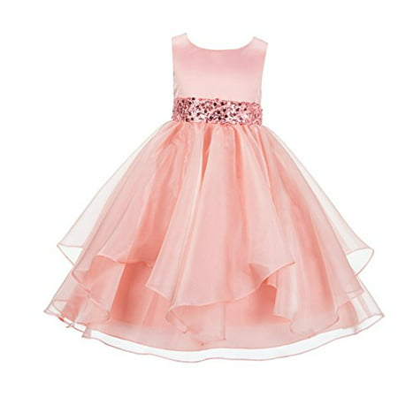 Ekidsbridal Asymmetric Ruffled Organza Sequin Flower Girl Dress Birthday Girl Dress Princess Dresses Pageant Dresses Ballroom Gown Special Occasion Dresses Junior Bridesmaid Dress 012S