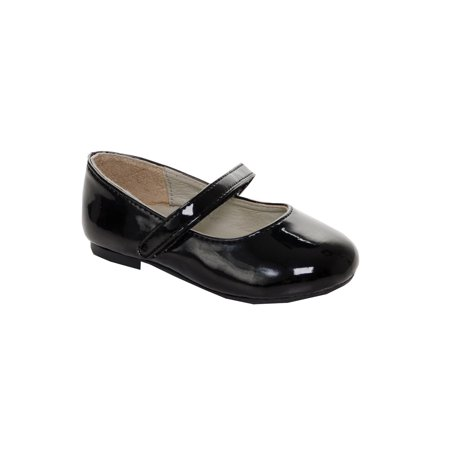 Black Patent Mary Jane Shoes - Pazitos Girls Black Patent All American Hook-And-Loop Mary Jane Shoes