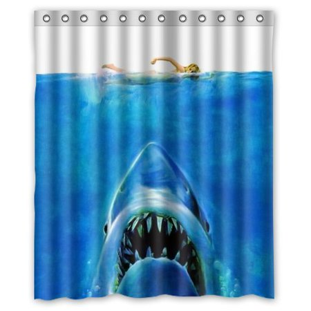 DEYOU Love Sport Theme With Jaws Big White Shark Underwater Movie Poster Shower Curtain Polyester Fabric