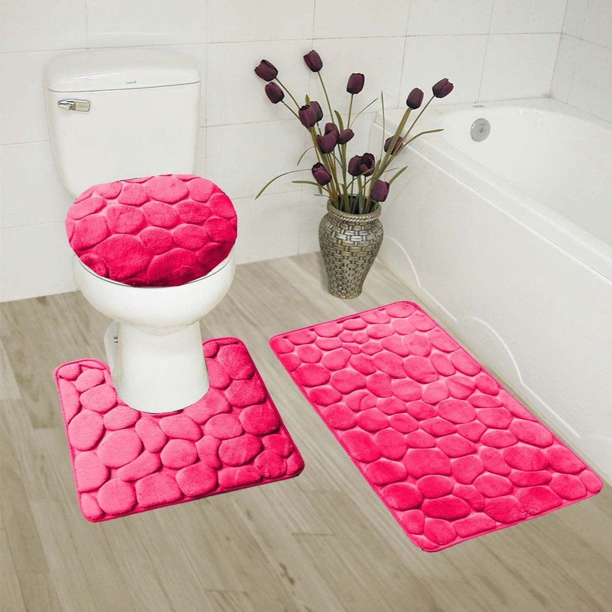 """HOT PINK 3-Piece Rock Memory Foam Bathroom Mat Set, Flannel Embossed Rug 19""""x 30"""", Contour Mat 19""""x19"""", and Toilet Lid Cover 19""""x19"""" with Non-Skid Rubber Back"""