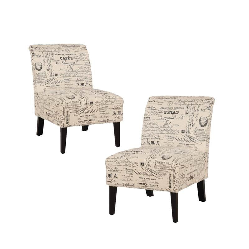 Set Of 2 Accent Chairs In Script