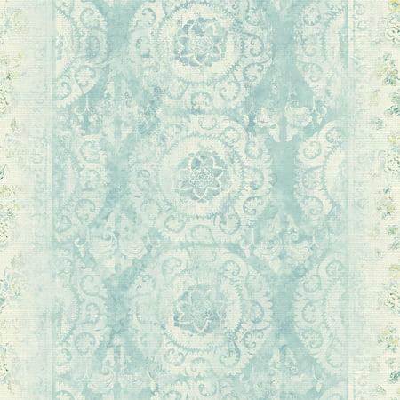 Patina Vie Mandala Stripe Transition Wallpaper Blue