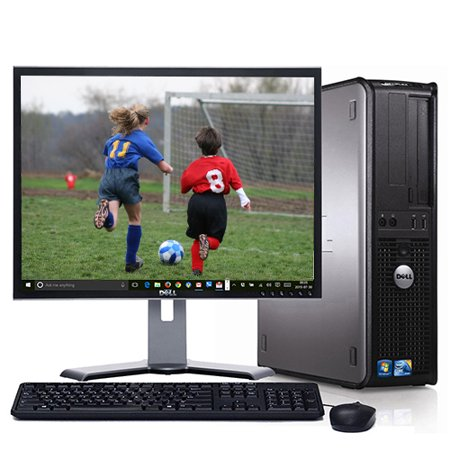 "Dell Optiplex Desktop PC Computer System Windows 10 Dual Core 4GB 160GB with a 19"" LCD Monitor-Refurbished Computer"