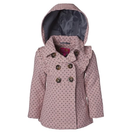 Polka Dot Ruffle Legging - Pink Platinum Ruffled Polka Dot Wool Blend Coat (Little Girls & Big Girls)