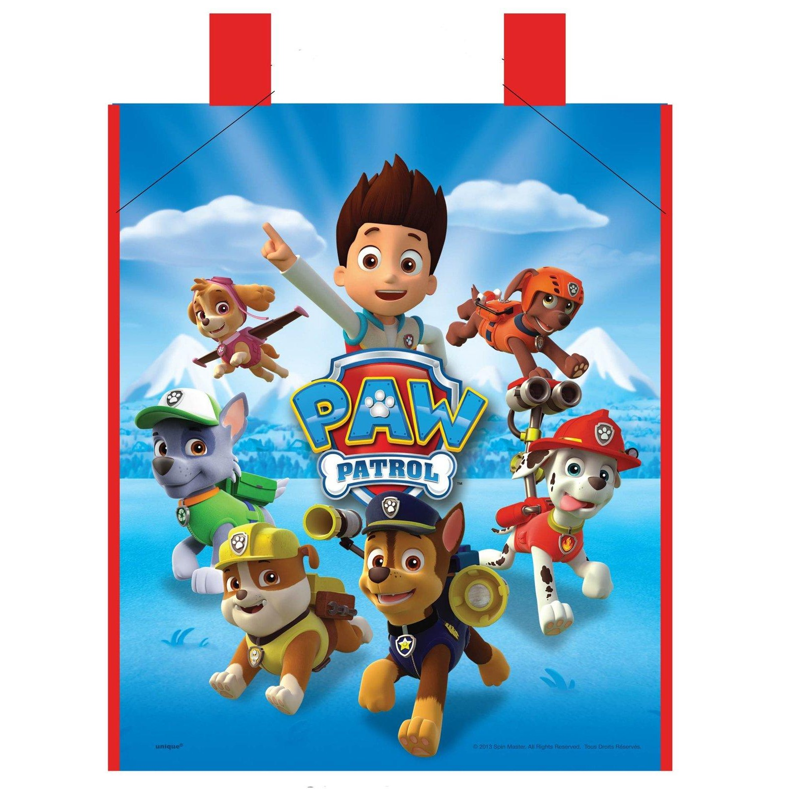 Large Plastic PAW Patrol Favor Bag 13 X 11in