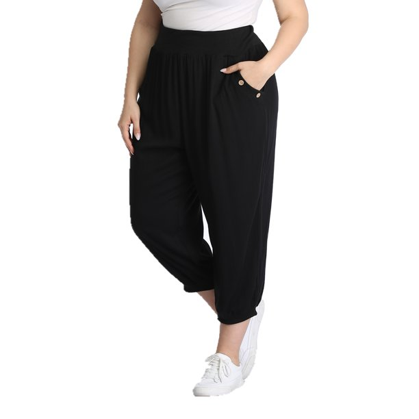 Dilgul Dilgul Women S Plus Size Capri Pants Loose Fit Sweatpants Jogger Workout Yoga Pants With Pockets Black Xl Walmart Com Walmart Com