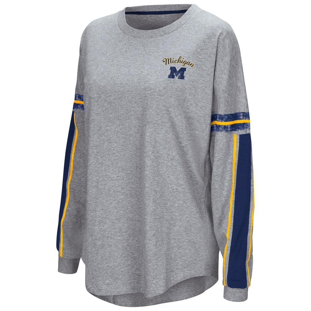 "Michigan Wolverines Colosseum WOMEN'S Gray ""Mast"" Oversized LS T-Shirt"