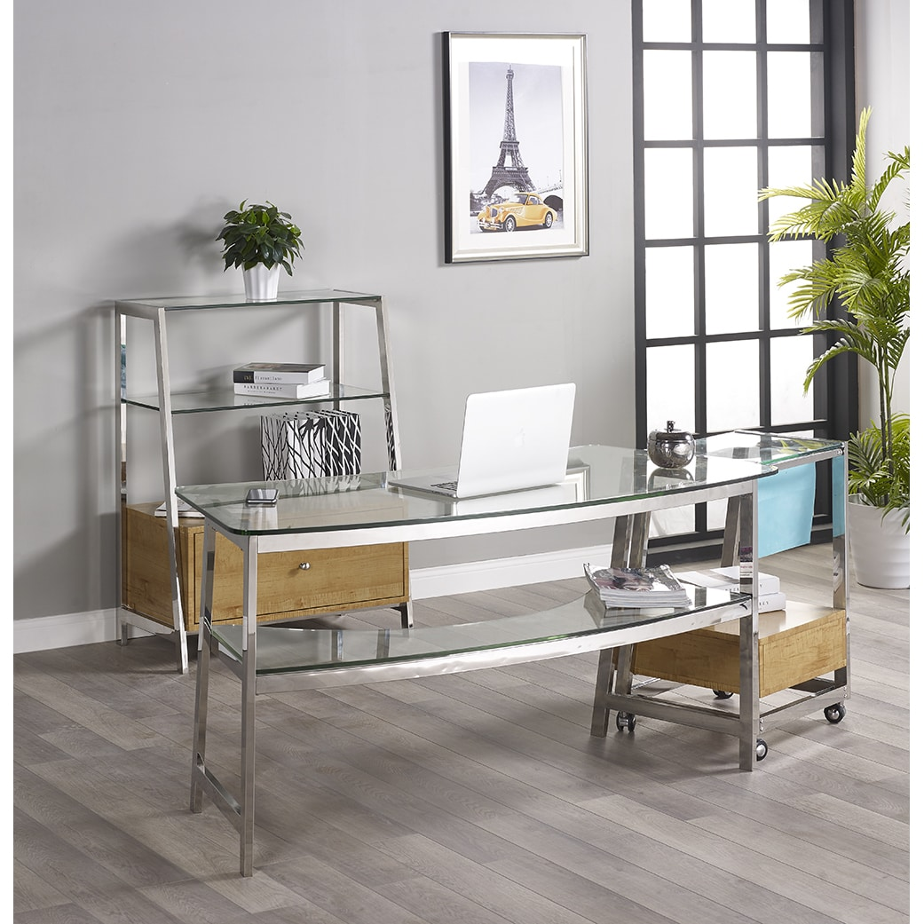 Turnkey Products LLC Tenzo 62-inch Glass Writing Desk with 1 Bookcase and File