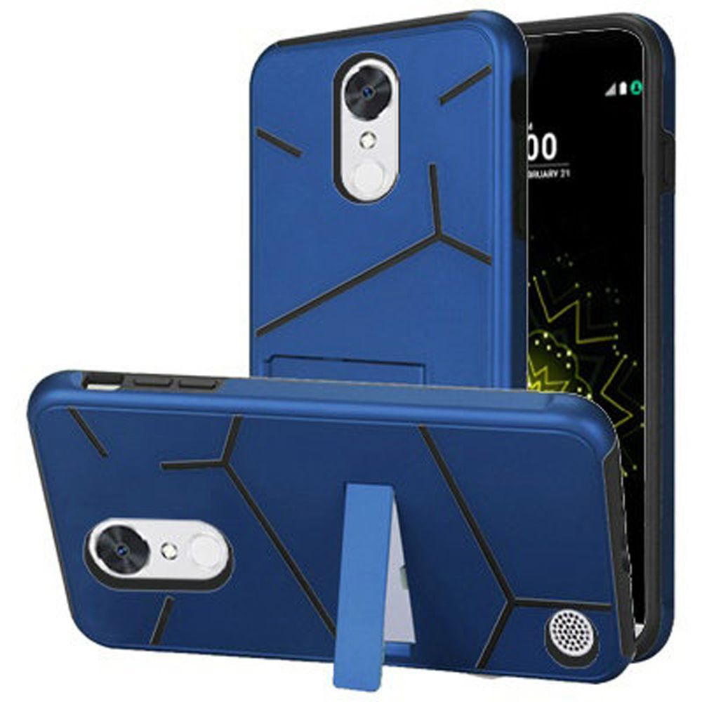 For LG K20 Plus Harmony Grace HLX Hybrid PC TPU with Kickstand - Dark Blue PC / Black TPU