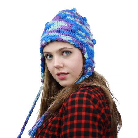 8bbd9e862e1 NYFASHION101 Nepal Handmade Ear Flaps Wool Fleece Lined Winter Hat - B19  BL PU - Walmart.com