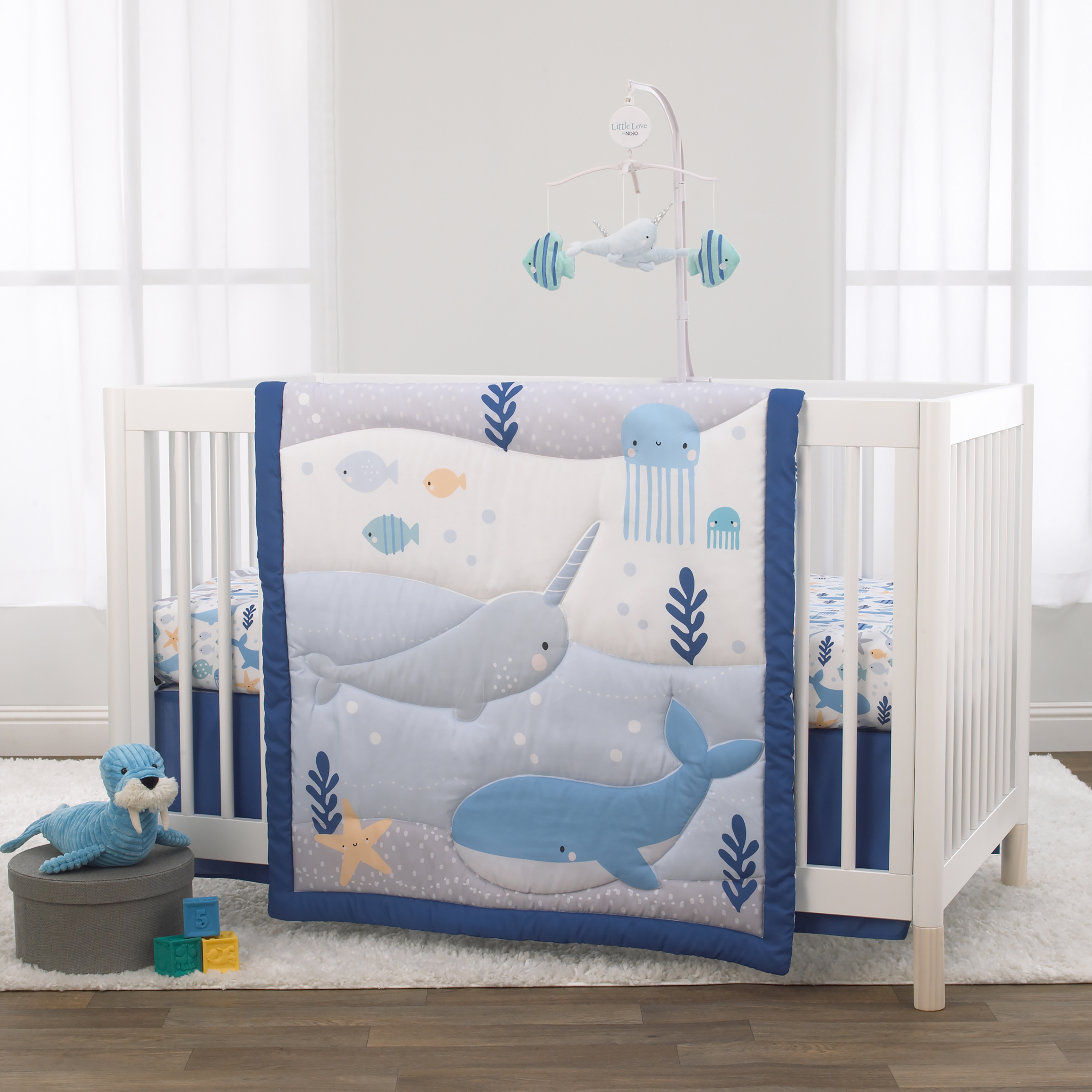 Iced Drink Toss on Blue Fitted Crib Sheet