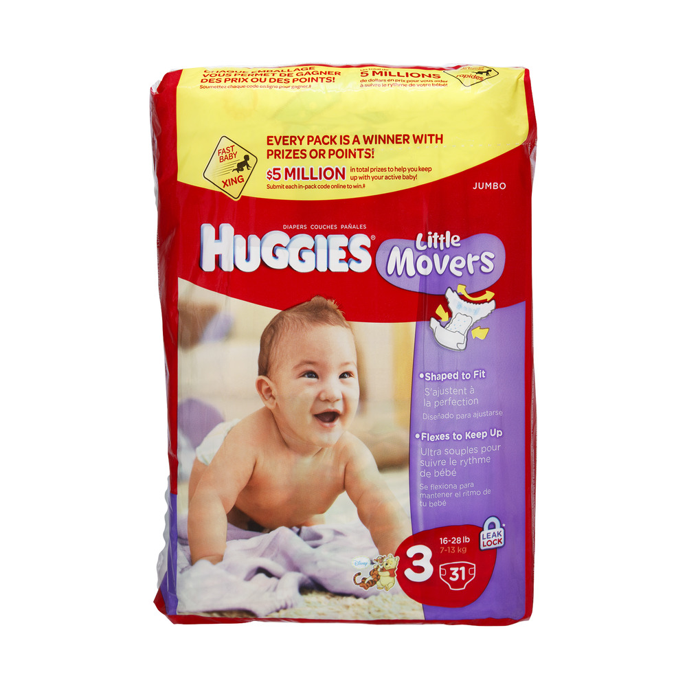 Huggies Little Movers Leak Lock Size 3 Disney Diapers - 31 CT
