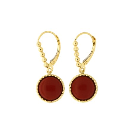 Coral Disc Earrings (14k Yellow Gold Simulated Dark Coral Cable Halo Disc Leverback Dangle Earrings)