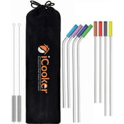 iCooker Stainless Steel Straws - Long Drinking Straws with Travel Case - White