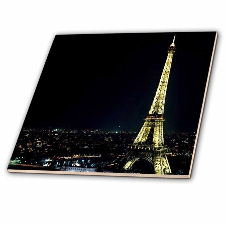 3dRose Eiffel Tower Lit At Night Ceramic Tile 4 inch
