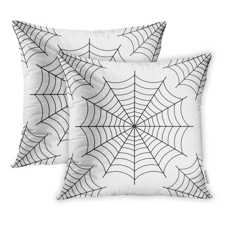 ARHOME Arachnid Halloween Spider Black Contour on White Cartoon Clip Cobweb Collection Pillowcase Cushion Cover 20x20 inch, Set of - Halloween Cartoon Clip Art