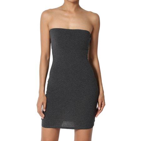 544d6bf18c17 TheMogan - TheMogan Junior's Strapless Bodycon Bandeau Mini Dress Stretch  Cotton Jersey Slip - Walmart.com