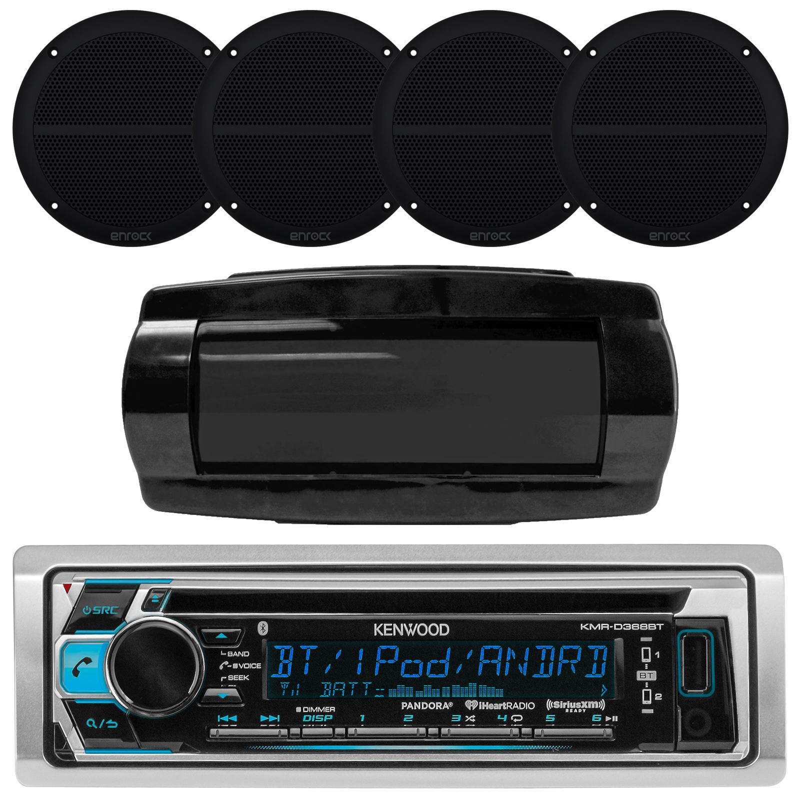 """Kenwood KMRD372BT Single DIN Bluetooth In-Dash CD/AM/FM/Digital Media Marine Stereo Receiver, Enrock Marine EM602B Black Dual 6.5"""" Inch Full Range Speakers 250 Watts Peak (Pair), In-Dash Radio Cover"""