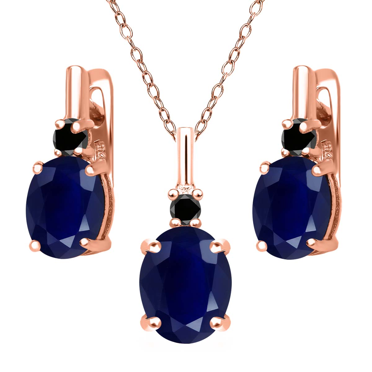 7.57 Ct Blue Sapphire Black Diamond 18K Rose Gold Plated Silver Pendant Earrings Set by